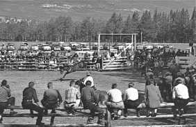 The Jasper Rodeo at Marmot Meadows on the southern end of present day Whistlers Campground, 1950s.