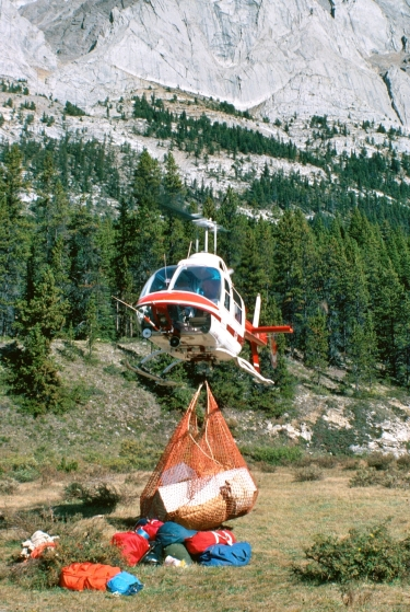 Helicopters are used extensively to transport trail crews and their supplies into the backcountry.