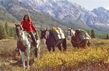Julia Paterson with horses (from left to right) Indian, Help, and Ernie in the upper Blue Creek Valley. The lower slopes and craggy peaks along the spectacular Ancient Wall mountain range provide optimum range for bighorn sheep and mountain goats.