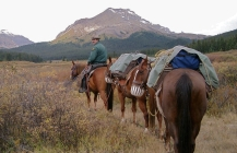 I made one of my last trips into Willow Creek District shortly before my retirement with Park Warden Brad Romaniuk. Brad with our horses (from left to right) Duncan, Hootchie, and Wrangler in the Mowitch Creek Valley.