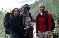 Chrystyne (left) with Dr. John Di Toppa and his wife Paola, in the Fiddle River Valley.